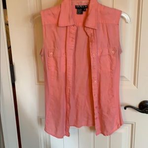 Rose colored No sleeve button down 100  linen wash
